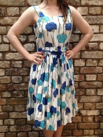 50s vintage dress blue green white