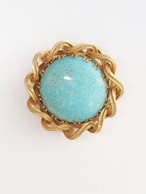 Large Vintage Brooch Blue & Gold