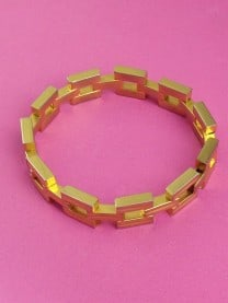 1980s Vintage Bracelet Gold Square Chain Statement Jewellery