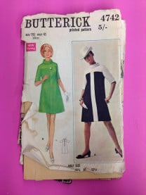 Butterick 1960s A-line dress pattern (4742)