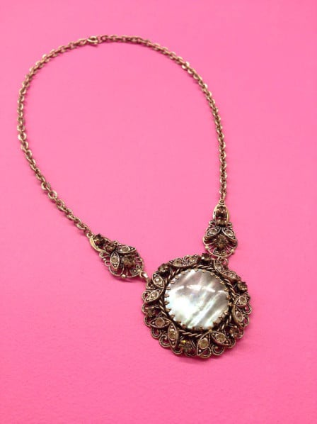 1950s Filigree Necklace with Abalone Shell