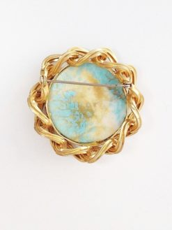 Large Vintage Brooch Blue & Gold back