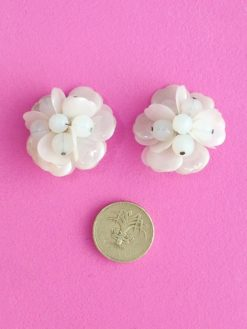 Pretty Pearlescent 1950s Clip Earrings scale