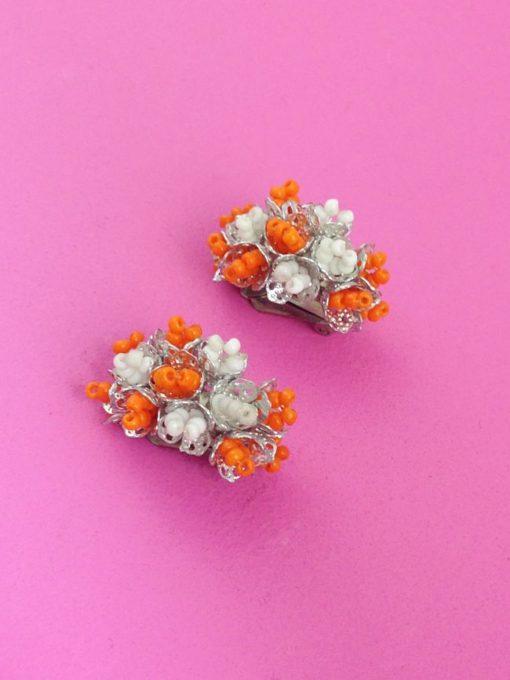 1960s Half Hoop Earrings orange white