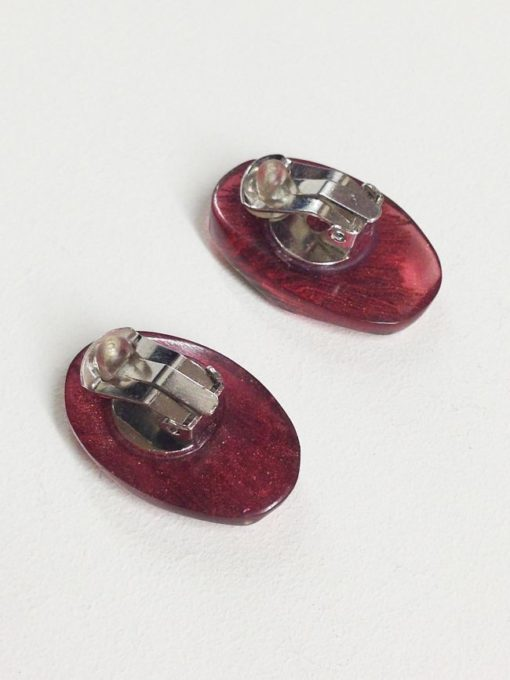 Handmade Earrings with Inclusion in Pink Resin back