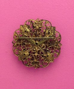 purple vintage brooch antique gold surround 1950s back