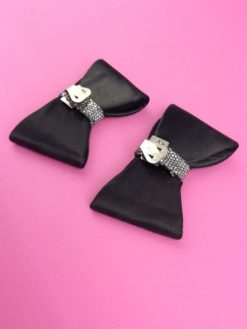 Vintage Shoe Clips Black Silver back