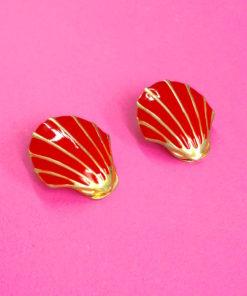 Red 1980s Vintage Earrings Shell Shape
