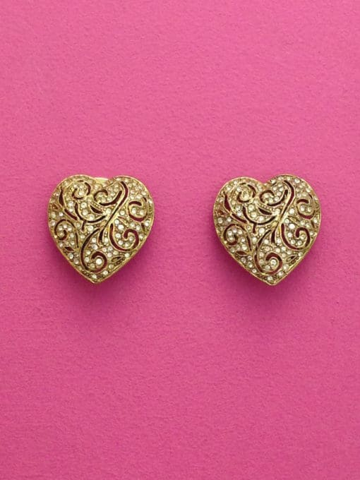 Sparkly Heart Vintage Earrings by Kirks Folly