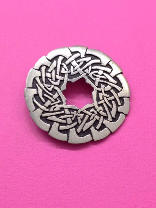 Vintage St Justin Pewter Brooch Round Celtic Design