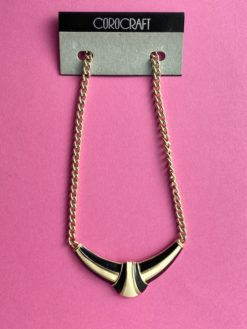 image of a 1980s COROCRAFT Necklace in Black and Ivory with gold chain