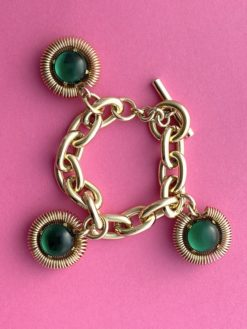 image of a Chunky Vintage Bracelet Gold Green dating to 1970 or 1980