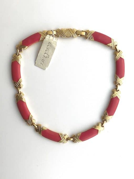 image shows a Vintage Corocraft Necklace Deadstock with Original Hang Tag on white background