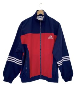 Vintage Adidas Jacket Track Zipper Lined Navy Red