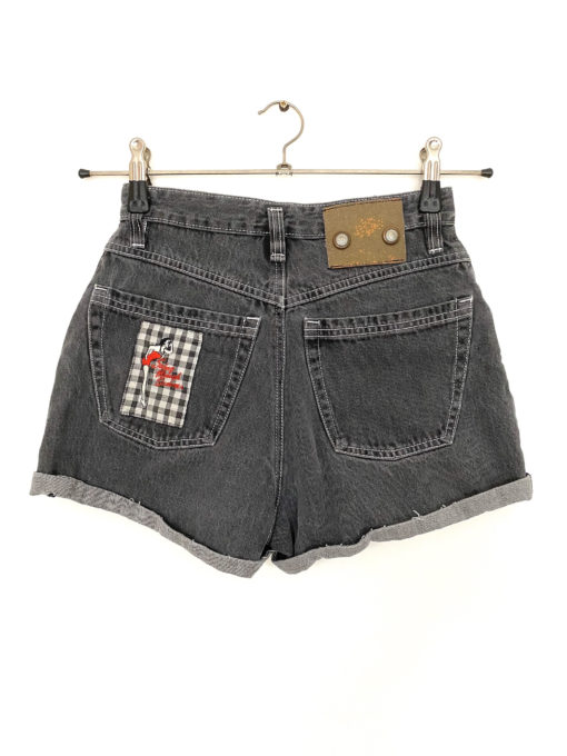 Grey High Waisted Denim Shorts with Adorable Embroidered Patches