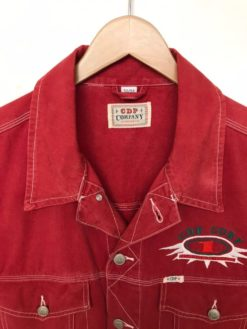 Vintage Sleeveless Denim Jacket Gilet Red