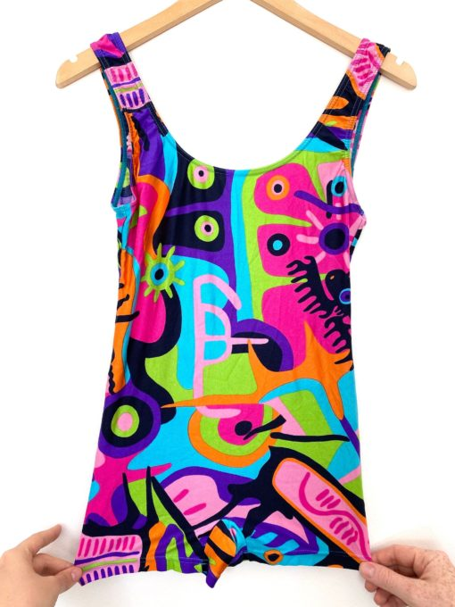 Vintage 1960s Psychedelic Swimsuit Multicoloured / Abstract Swimming Costume