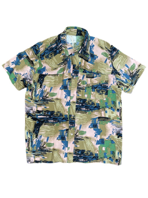 Vintage Abstract Shirt Arty Olive-Green Pink Arty