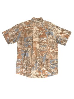 image shows Abstract Vintage Shirt Beige Blue Pattern