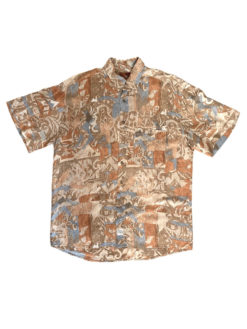 image of Abstract Vintage Shirt Beige Blue Pattern