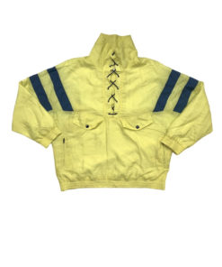 Vintage Shellsuit Jacket Lace Up Front Yellow Blue - Size 3XL